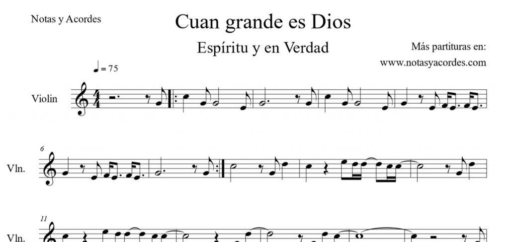 Cuan grande es Dios Partituras cristianas para violin
