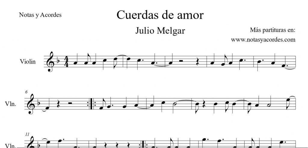 Cuerdas de amor partitura para Violin PDF