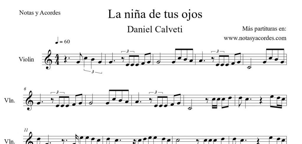 La niña de tus ojos partitura para violin