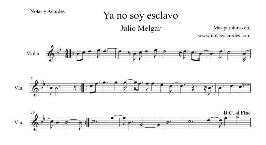 Ya no soy esclavo Partitura de Violin PDF Descargar
