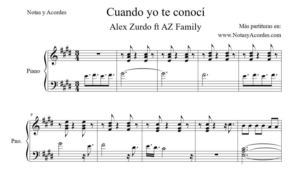 Partitura de Cuando Yo Te Conocí Alex Zurdo