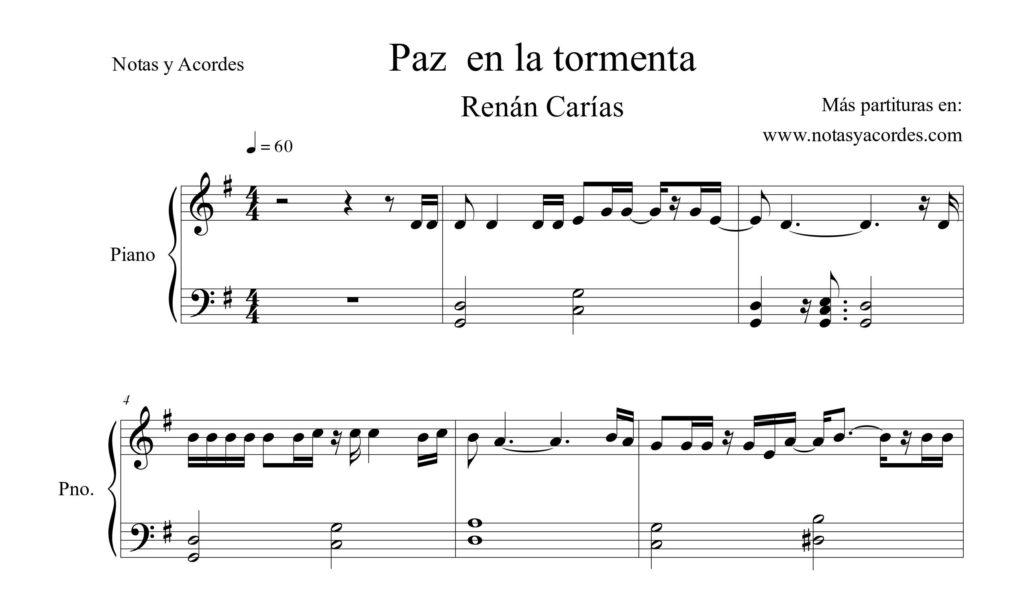 Paz en la tormenta - Partitura PDF piano