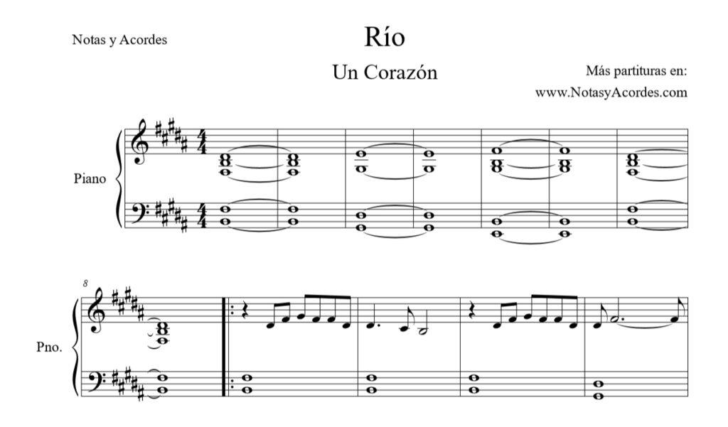 Partitura de Rio Un Corazón