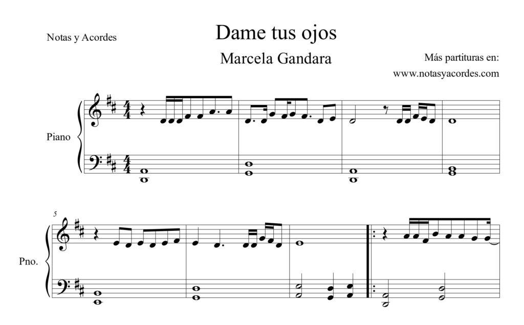 Dame tus ojos Piano Partitura PDF